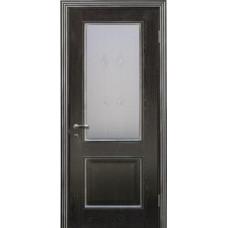 Дверь Триест со стеклом черн.абрикос+серебро