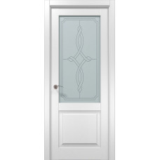 Двери БЛАНШ-11 бел.мат, ст.сатин+рис